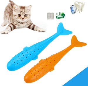 Free DHL Pet Cat Toothbrush Bite Resistant Silicone Fish Shape Cat Interactive Toys Catnip Molar Teeth Cleaning Chew Stick for Kitten M991F