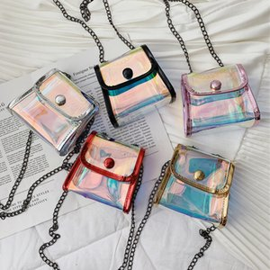 Laser chain flap mini shouler bag clear transparent crossbody Handbag fashion lady phone storage pouch party pack princess coin bag FFA2110