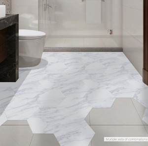 Wholesale marble tiling resale online - Waterproof Bathroom Floor Tile Sticker Adhesive PVC Marble Floor Decal Peel Stick Sticker Non Slip Home Entrance Decor