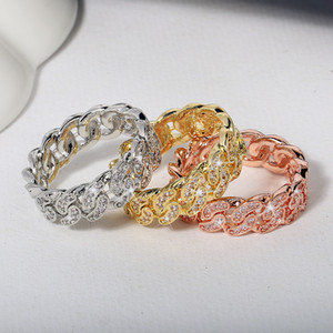 Wholesale wedding jewerly for sale - Group buy Cuban Link Rings Hiphop Wedding Party Jewerly Iced Out Cubic Zirconia Fashion Micro Pave Ring For Women Bague femme