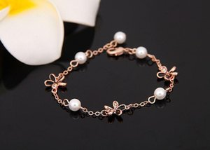 Wholesale Top quality natural pearl bracelets White Faux fake pearl beads chains Gold Silver Rose Gold Wrap bangle For women Luxury Jewelry Gift