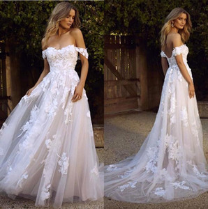 Wholesale New Country Boho Wedding Dresses Sexy Backless A Line Off Shoulder Appliqued Tulle Long Summer Bridal Gowns Bohemian BM1510