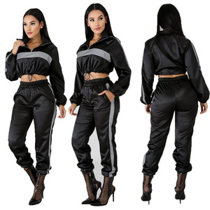 Wholesale 2019 Reflective Tracksuit Two Piece Set Women Clothes Black Crop Top Pants Sweat Suit Sexy Club Outfits Matching Sets