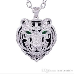 Bling Iced Out Pendant Necklace Simple Design Micro Pave Full Cubic Zircon Leopard Dragon Tiger Head Chocke Collar Hip Hop CZ Jewelry Gift