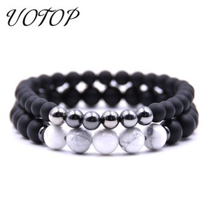 Wholesale UOTOP set Handmade Women Men Bracelet Jewelry Charm Black Scrub Beads Natural Stone Bracelets Couple Gift For Lover