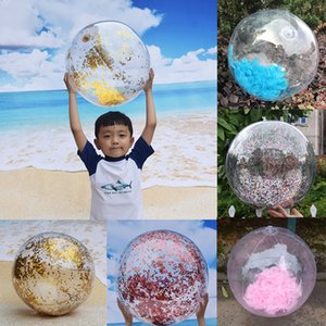 Wholesale Inflatable Beach Ball Transparent Feather Glitter PVC Kids Adult Toy Beach Confetti Inflated Party Ball Summer Air Inflation Toy Inch