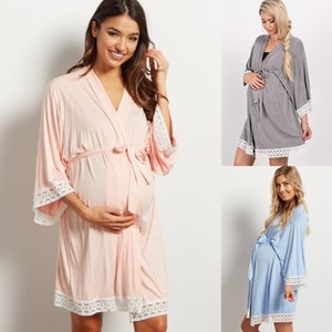 Maternity Solid Color Sleepwear Dress Pregnant Women Lace Stitching Cardigan Breastfeeding Robes Pajamas Pregnancy Mom Nightwear on Sale