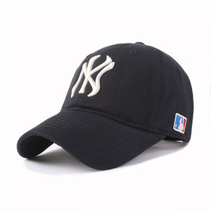 Wholesale 2019Major league baseball yankees baseball cap twill NY black all caps sports casual curved eaves cap for men and women are adjustable sizes