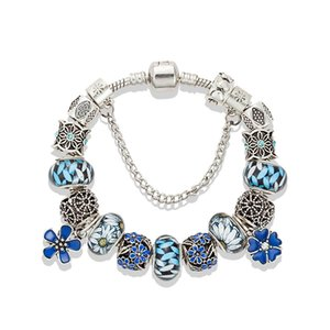Wholesale Fashion high quality beaded bracelet for Pandora noble blue DIY flower beaded bracelet ladies Valentine s Day gift with box