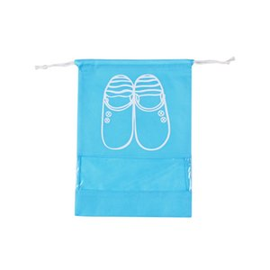 Wholesale 2 style colors Freed shipping Can be customized non woven DrawString DrawString bag shoe storage bag transparent shoes dust bag