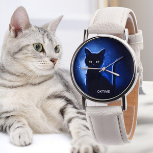 Wholesale OKTIME Womens Watch Mysterious Black Cat Printing Watch Clock Gift Luxury Leather Strap Dress Laides Quartz WristWatch Relogio A