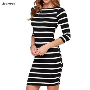 Wholesale Starwee Women O Neck Fashion Dress Black and White Striped Tight Dresses Straight Plus Size Casual Dress New Spring Summer Y19012102