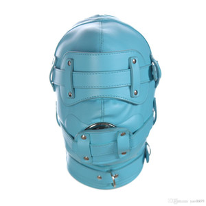 Wholesale Slave Bright Muzzles Leather Hoods Mask Removable Mouth Gag Goggles Fetish Fantasy Sex Product For Adult Head Restraints BDSM Bondage Z668