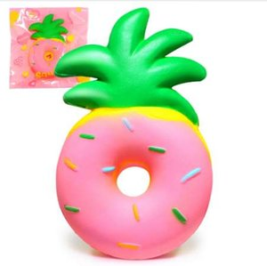 Wholesale Jumbo Pineapple Donut Squishy Fruit Squishies Cream Scented Slow Rising Squeeze Toy Phone Strap Original Package