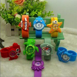 Wholesale marine chronograph watches resale online - Slap Snap Silicone Candy color Wrist Watch Cartoon Cute D Marine Animal Pattern Boy Girl Kids Watches