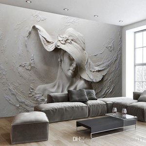 1 Square Meter Wallpaper 3D Stereoscopic Embossed Gray Beauty Oil Painting Modern Abstract Art Wall Mural Living Room Bedroom Wallpaper on Sale