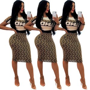 Wholesale Free Ship Women Fashion Letter Print Two Piece Dress Female Casual Slim Crew Neck T Shirt Skirt Set