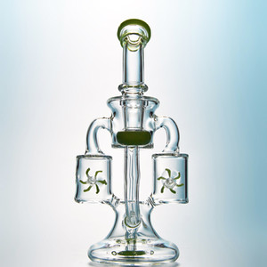 Wholesale glass oil bong percolator resale online - Green Purple Glass Bongs Double Recycler Bong Propeller Spinning Percolator Oil Rigs Dab Rig mm Joint Water Pipes With Heady Bowl XL167