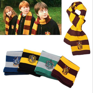 Wholesale 4 Colors Scarves College Scarf Harry Potter Scarves Gryffindor Series Scarf With Badge Cosplay Knit Scarves Halloween Costumes RRA2097