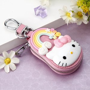 New Cute Hello Kitty Keychain Exquisite Coin Zipper Wallet Keychain Woman Girl Handbag Wallet Pendant Jewelry Men's Gift