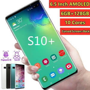 Wholesale New 6.5 Inch S10+ Smartphone Face Fingerprint Unlock 6GB+128GB Android Octa Core Dual SIM Cards Support T Card Dual Rear 8MP+16MP HD Camera