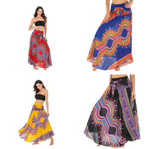 Bohemia Style Dress Leisure Time Beach Skirts Women Two Wears Black Belly Dancing Swing Trousers New Arrival 35skb L1