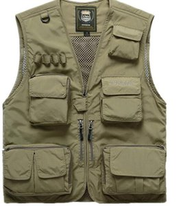 Men's Summer Fishing Hunting Outdoor Climbing Trekking Vest Male Sleeveless Multi-Pocket Quick-dry Mesh Photography Waistcoat on Sale