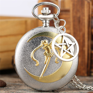 Wholesale unique pocket watches resale online - Antique Unique Sweater Necklace Pocket Watch Noble Japan Anime Sailor Moon Series Quartz Analog Display Women Girl Pendant Chain Gifts