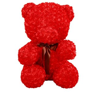 Wholesale 60cm Rose Teddy Bear Plush Toys Soft Stuffed Artificial Rose Flower Plush Red Bear Doll Girl Gifts for Women Valentine s Day