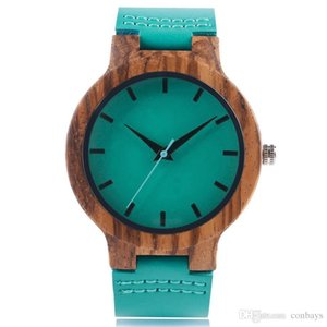 Wholesale Unique Blue Hand-made Wood Quartz Watch for Men's Stylish Wristwatch with Genuine Leather Watchband high Quality Wooden Clock Gift for