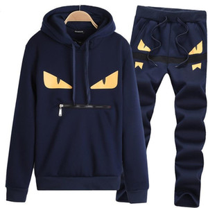 Wholesale Fashion Mens Little Monster Prints Designer Tracksuits Men s Hooded Long Sleeved Sweater Trousers Casual Two Piece