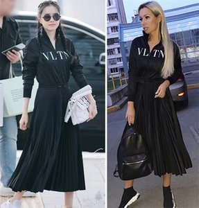 2019 New Women Dresses Fashion Stand Collar Zipper Letters High Quality Luxury Print Pleated Dress Women Clothes Size S-L