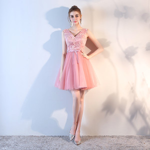 Wholesale short skirt very beautiful graduation dress embroidered sleeveless waisted multi-layer short skirt backless sexy PROM dress robes de mariée