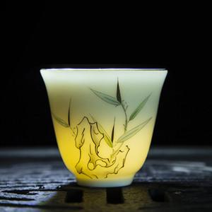2020Plum green bamboo peony orchid lotus chrysanthemum kung fu small tea cup enamel color ceramic tea set single product tea cup home office