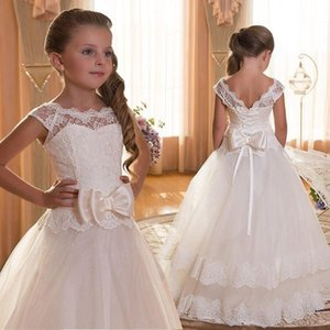 Wholesale Lace Teen Girls Dress New Tule Child Wedding White Princess Pageant Gown Bridesmaid Dresses For Kids Party Evening Clothing