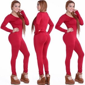 Wholesale Tight Bodysuit Sexy Overalls Night Club Rompers Womens Jumpsuit Playsuit Bodycon Jumpsuit Macacao woman long Sleeve color