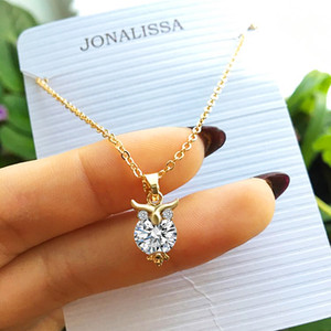 Wholesale 2018 New Zircon Pendants Owl Necklace For Women Crystal Heart Gold Sliver Color Long Necklaces Fashion Jewelry Christmas Gift