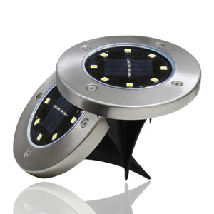 8LEDs Solar Underground Lamps Stainless Steel Buried Light IP65 Waterproof Outdoor Lighting Garden Courtyard Path Way Lawn Lamp