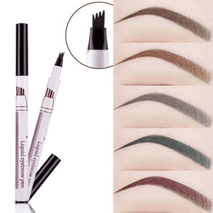 Wholesale dye eyebrows brown resale online - New Eyebrow Pencil Waterproof Fork Tip Eyebrow Tattoo Pen Head Fine Sketch Liquid Enhancer Dye Tint Pen