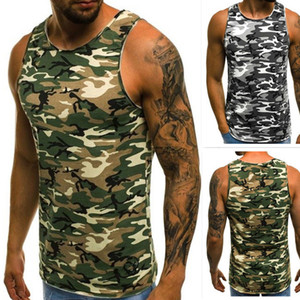 Wholesale 2019 New Classic Basic Green Tank Tops Knit Tops European And American Men's Camouflage Sports Fitness Vest T-shirt