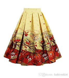 Wholesale Vintage s Womens Spring Summer Skirts Animal Print Cotton And Spandex petticoat Flared Midi Skirt Dress