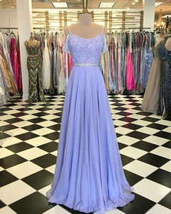 Wholesale Elegant Lilac Real Photo Evening Dresses Formal Gowns 2019 cold shoulder Chiffon Crystal Bling Beads Sequins Top Empire Prom Party Dress