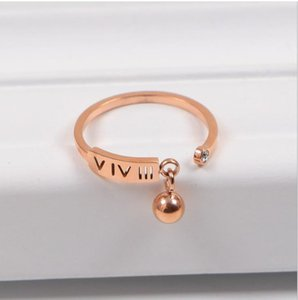 Wholesale Korean version k rose gold digital single diamond couple ring hollow tail ring ball pendant ring