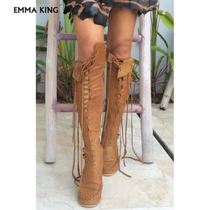 Wholesale Autumn New Leather Boots For Women Sexy Over The Knee Boots with Tan Laces Moccasin Style Women Big size