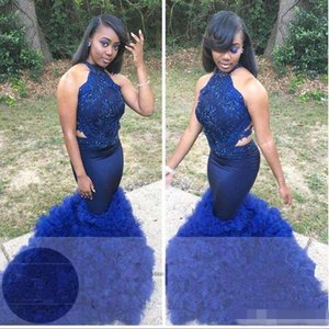 Wholesale Navy Blue Mermaid Evening Formal Dresses 2019 Halter Backless Ruffles Tiered Skirt Trumpet Plus size African Lace Prom Gowns