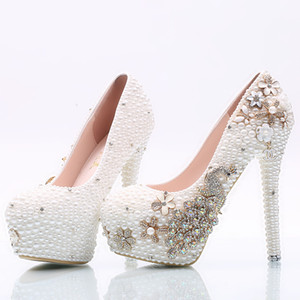 Phoenix Wedding Shoes Pearls Pumps High Heels Bridal Shoes 8cm 11cm 14cm Bling Bling Prom Shoes for Lady