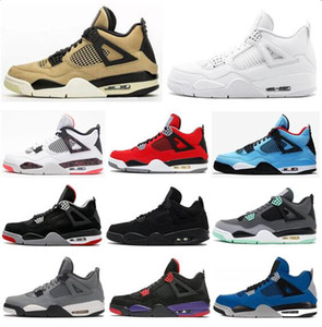 New 4 Mushroom Pale Citron Toro Bravo Black Cat Raptors Basketball Shoes Men 4s Eminem Encore Florida Gators Green Glow Sneakers With Box