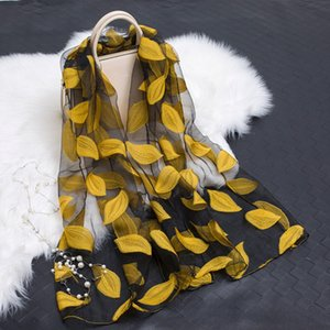 Wholesale 2019 spring summer scarf Lightweight Sheer Leaf Cut flowers print Gauze scarves shawls beach stoles hijab yellow red blue