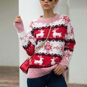 Wholesale New Christmas Sweater Women O Neck Knitted Sweater Winter Wool Print Pullover Long Sleeve Knit Tops Female Jumper pull femme