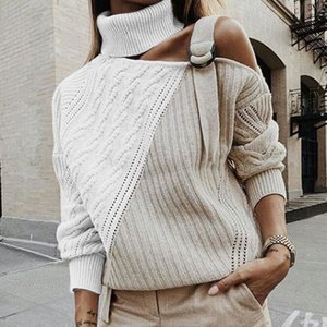 Women Patchwork Turtleneck Sweater Sexy Off Shoulder Buckle Knitted Pullover Autumn Winter Long Sleeve Jumper Tops Pull Knitwear